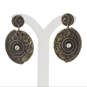Antiqued Brass Steampunk Crystal Dangle Earrings